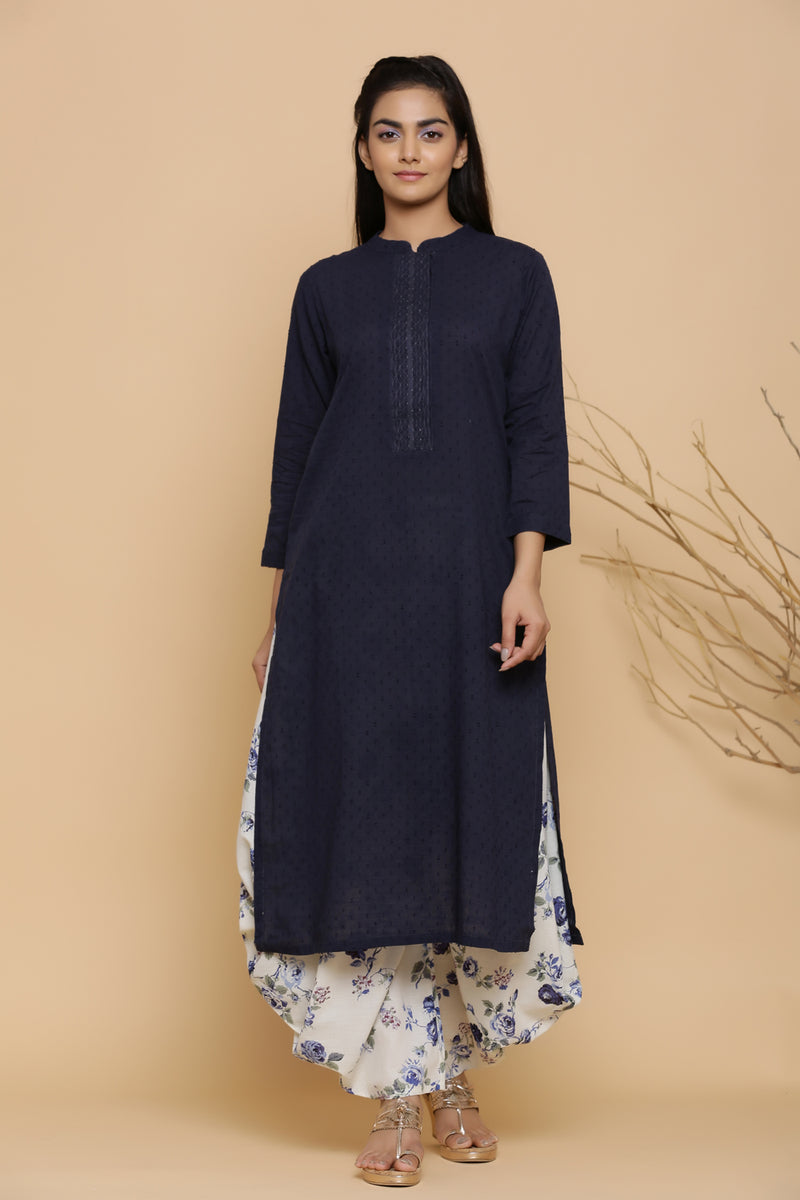 INDIGO NAVY BLUE STRAIGHT KURTA
