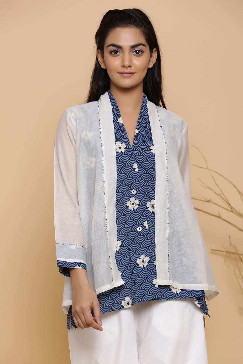 DOUBLE LAYERED BLUE COTTON PRINTED TUNIC