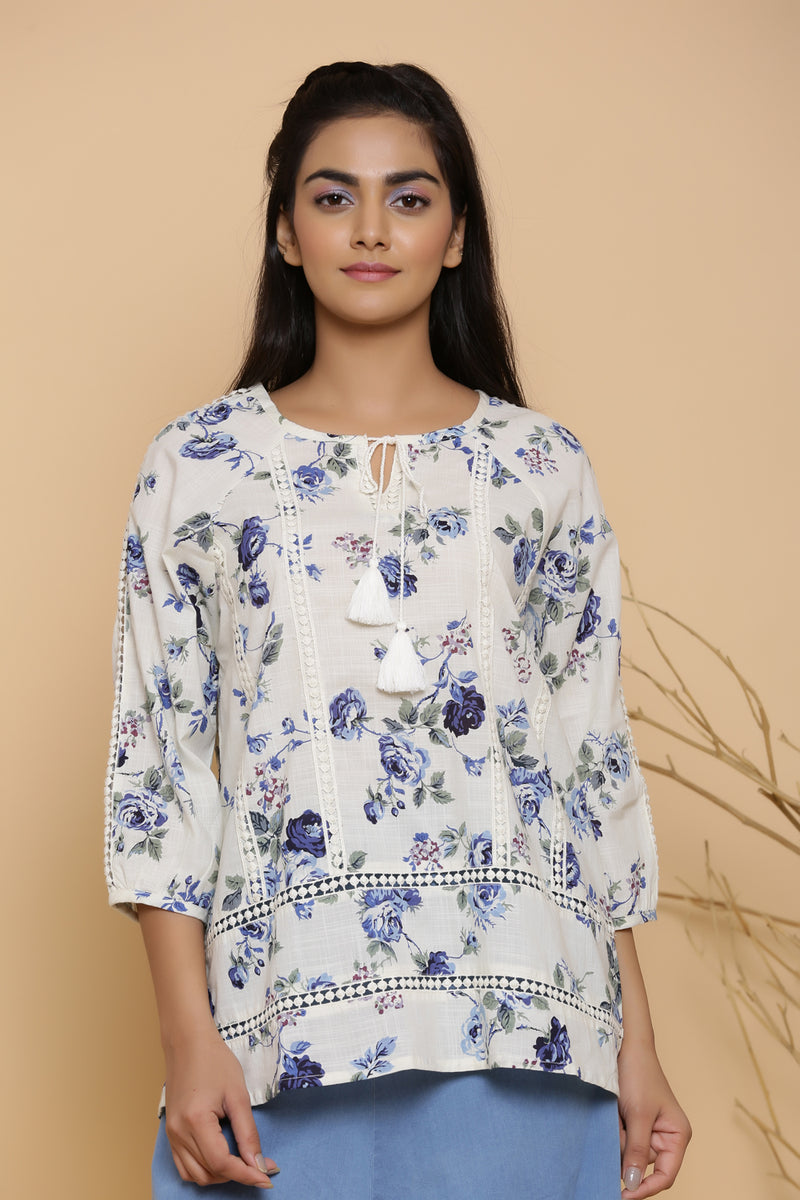 FLORAL PRINTED WHITE COTTON TUNIC