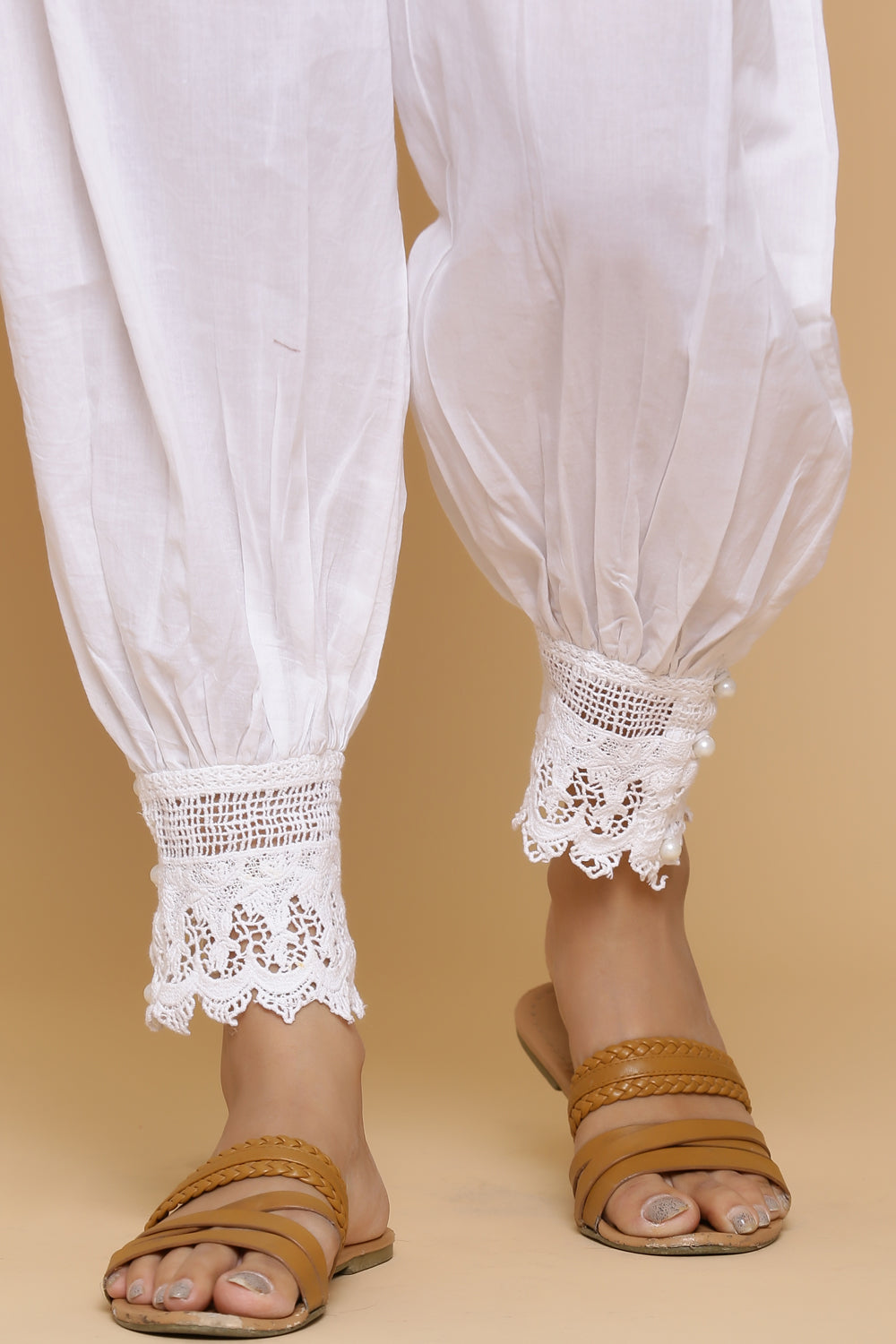 WHITE LACE BORDER SALWAR PANTS