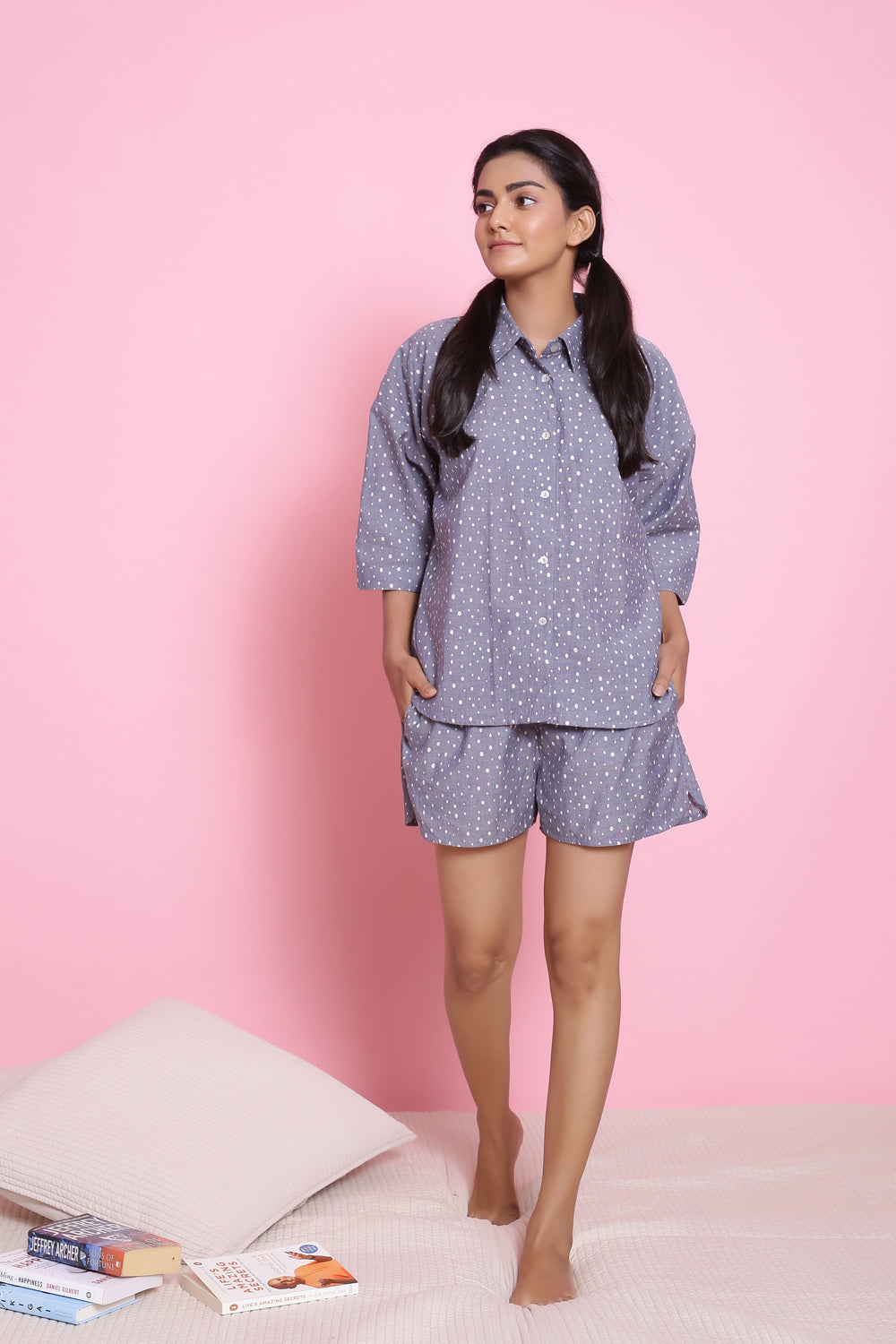 COTTON POLKA DOTS NIGHTWEAR SET