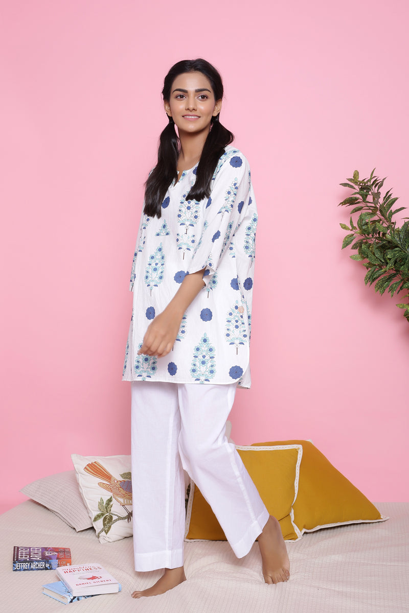 WHITE PRINTED COTTON NIGHTWEAR PYJAMA SET
