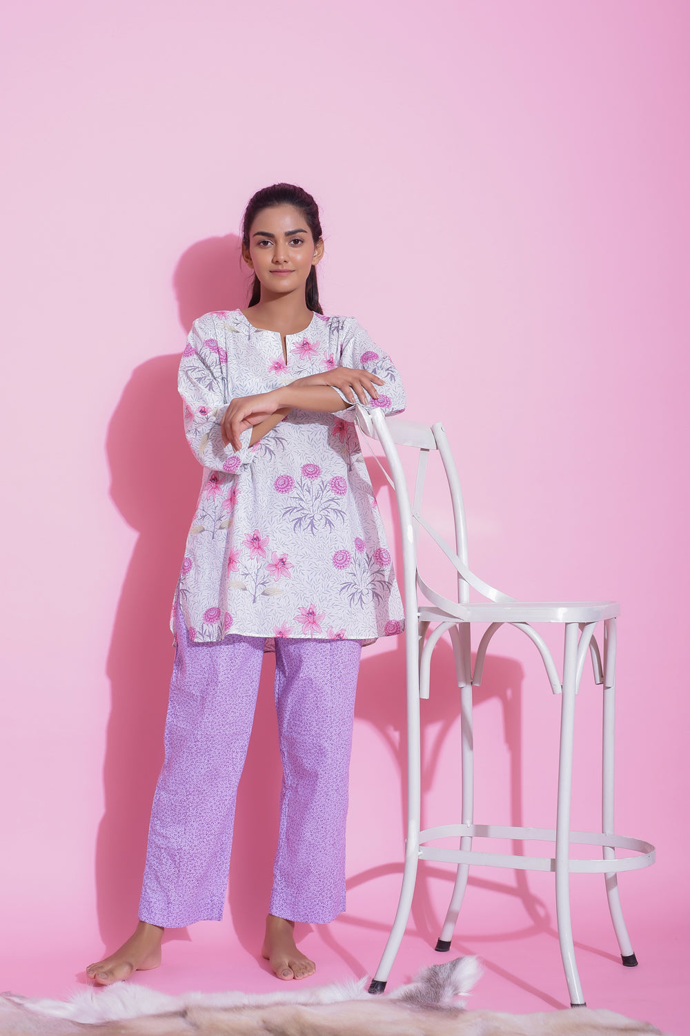 PURPLE COLOUR COTTON NIGHTWEAR PYJAMA SET