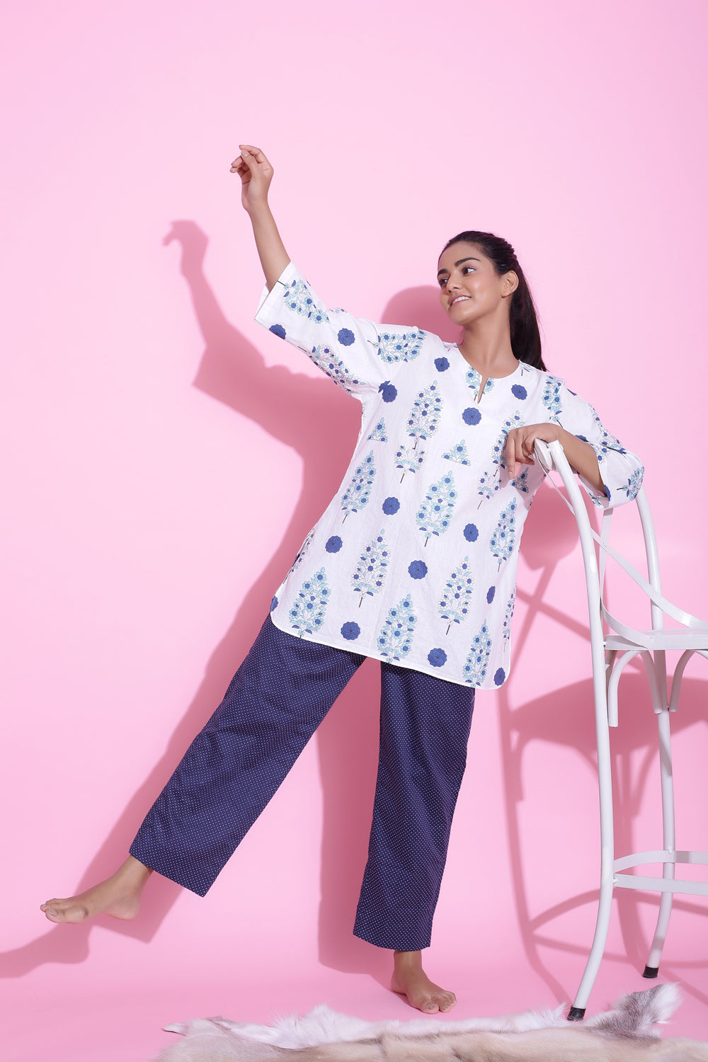 BLUE PRINTED COTTON NIGHTWEAR PYJAMA SET