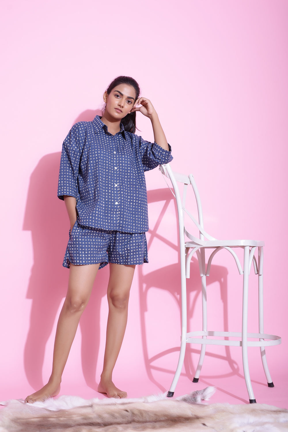 BLUE PRINTED COTTON NIGHTWEAR SET