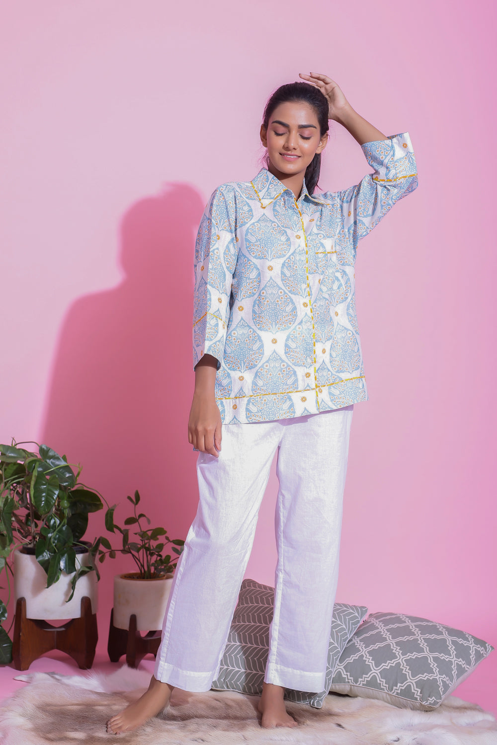 PRINTED NIGHTWEAR COTTON PYJAMA SET