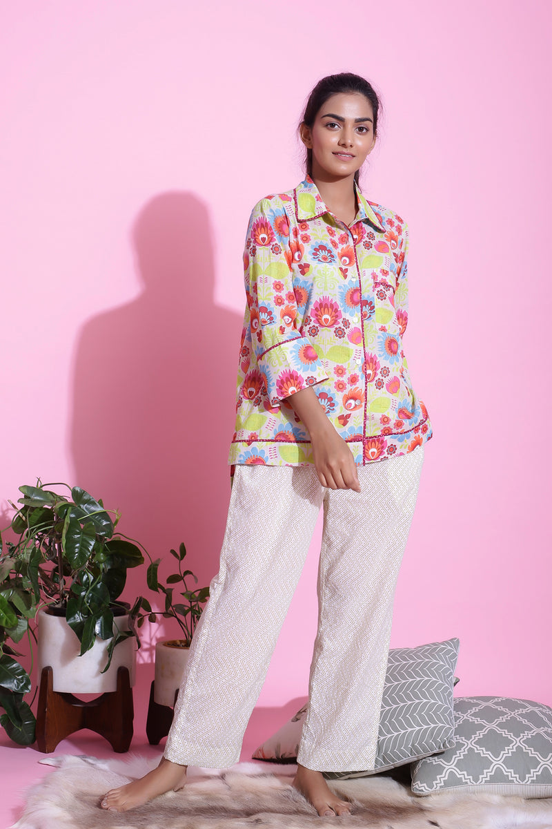 COTTON FLORAL PRINTED NIGHTWEAR PYJAMA SET