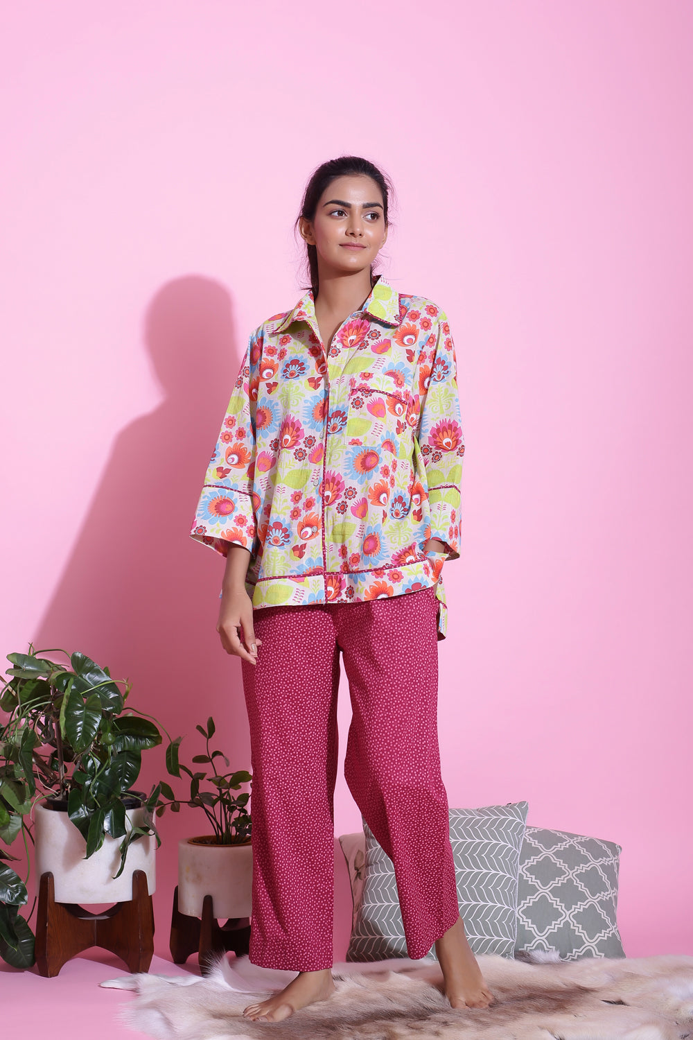 MULTICOLOUR COTTON PRINTED NIGHTWEAR PYJAMA SET