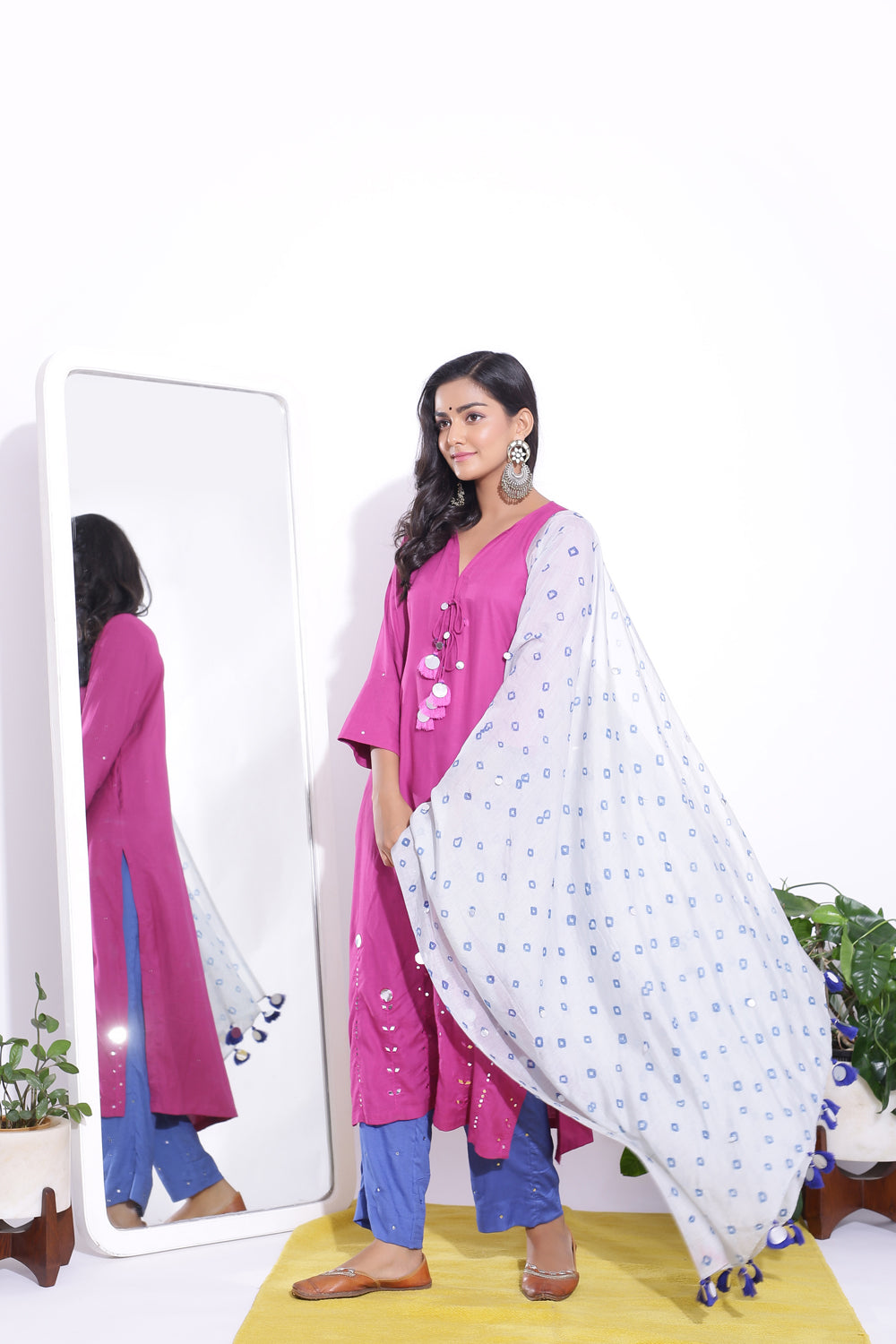 MAGENTA COLOUR MIRROR EMBELLISHED TASSELED KURTA SET OF 3