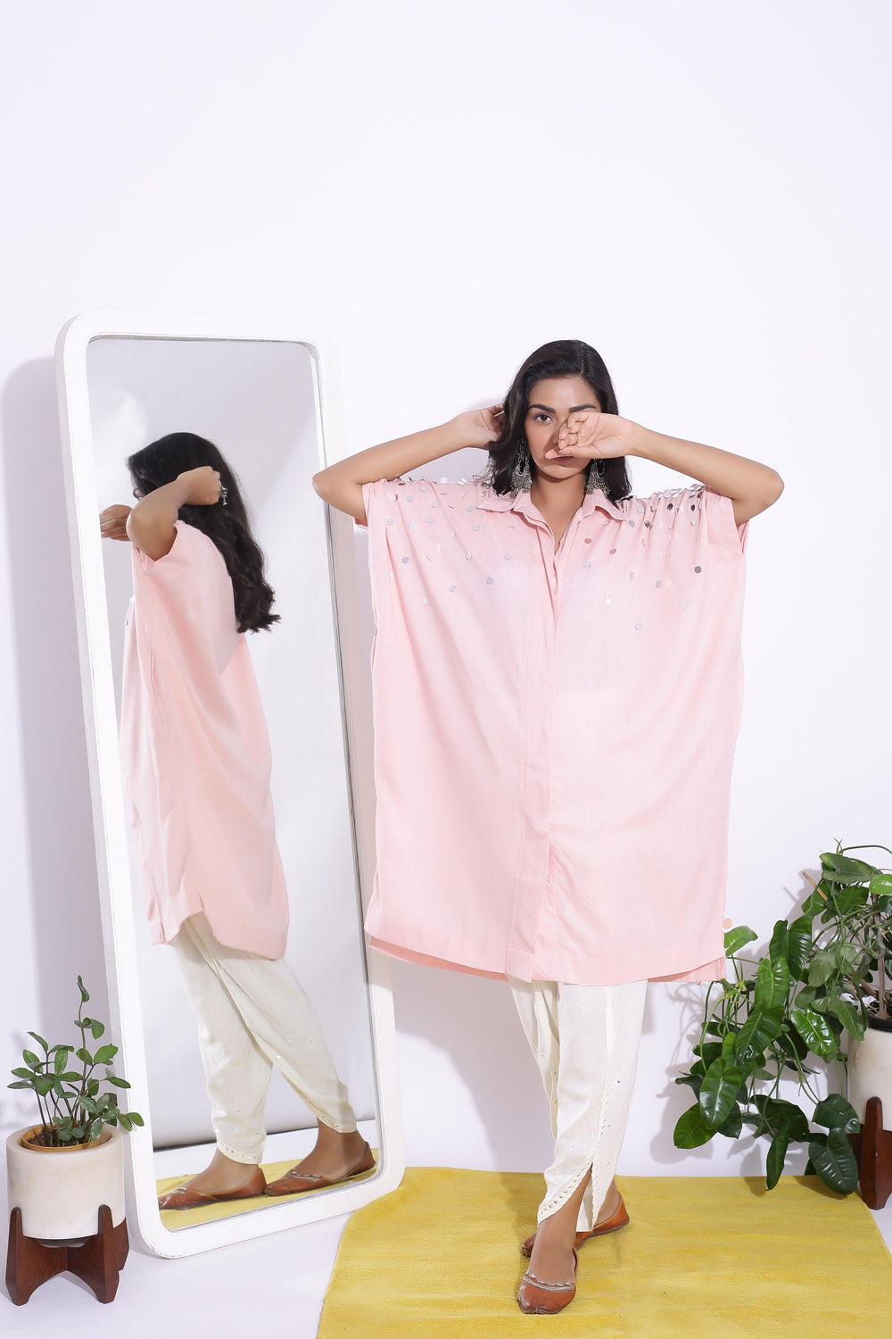 BABY PINK FREE SIZE SHIRT WITH MIRROR DETAILING