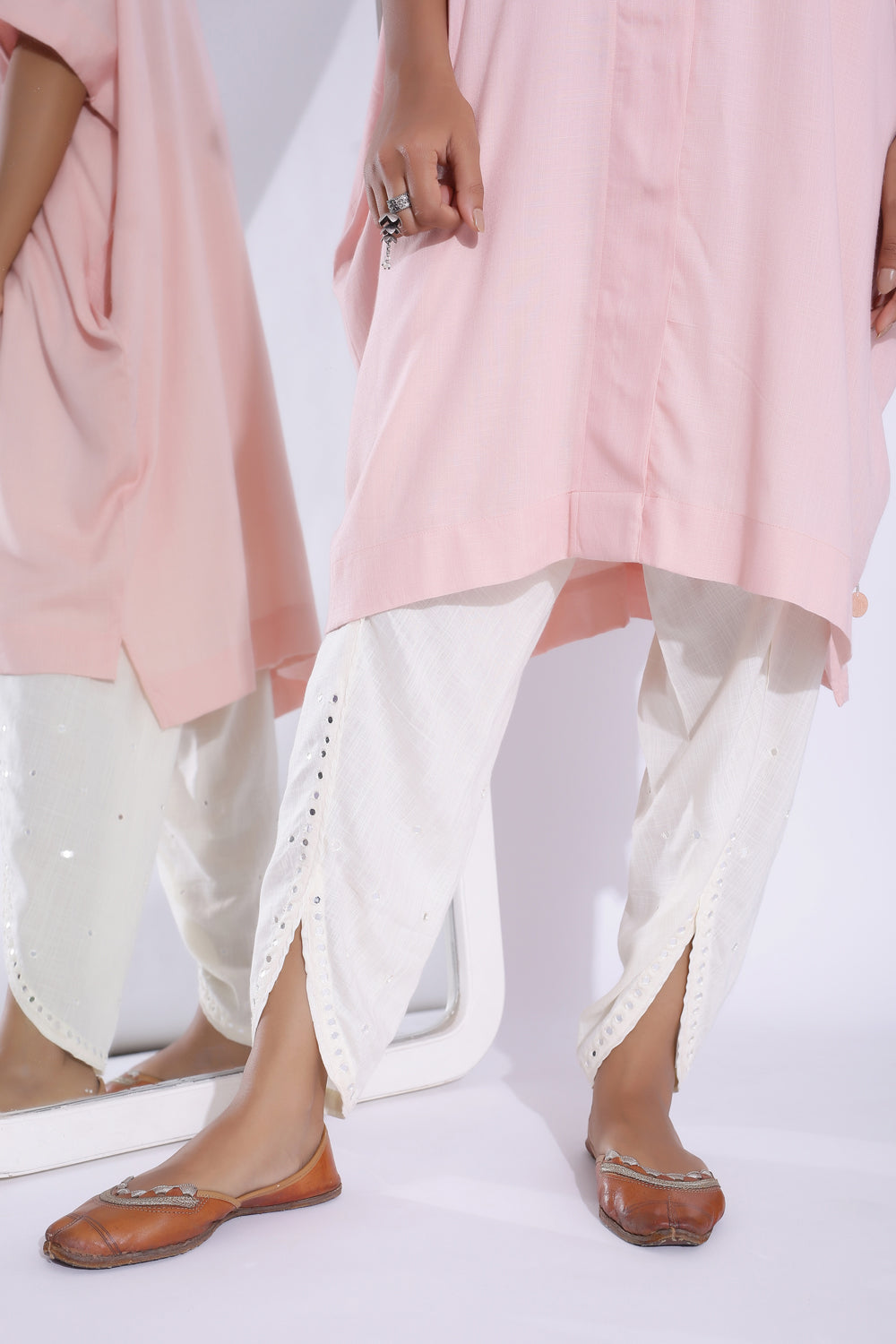 OFF WHITE TULIP PANT WITH MIRROR DETAILING
