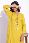 MUSTARD COLOUR MIRROR EMBELLISHED TASSELED KURTA