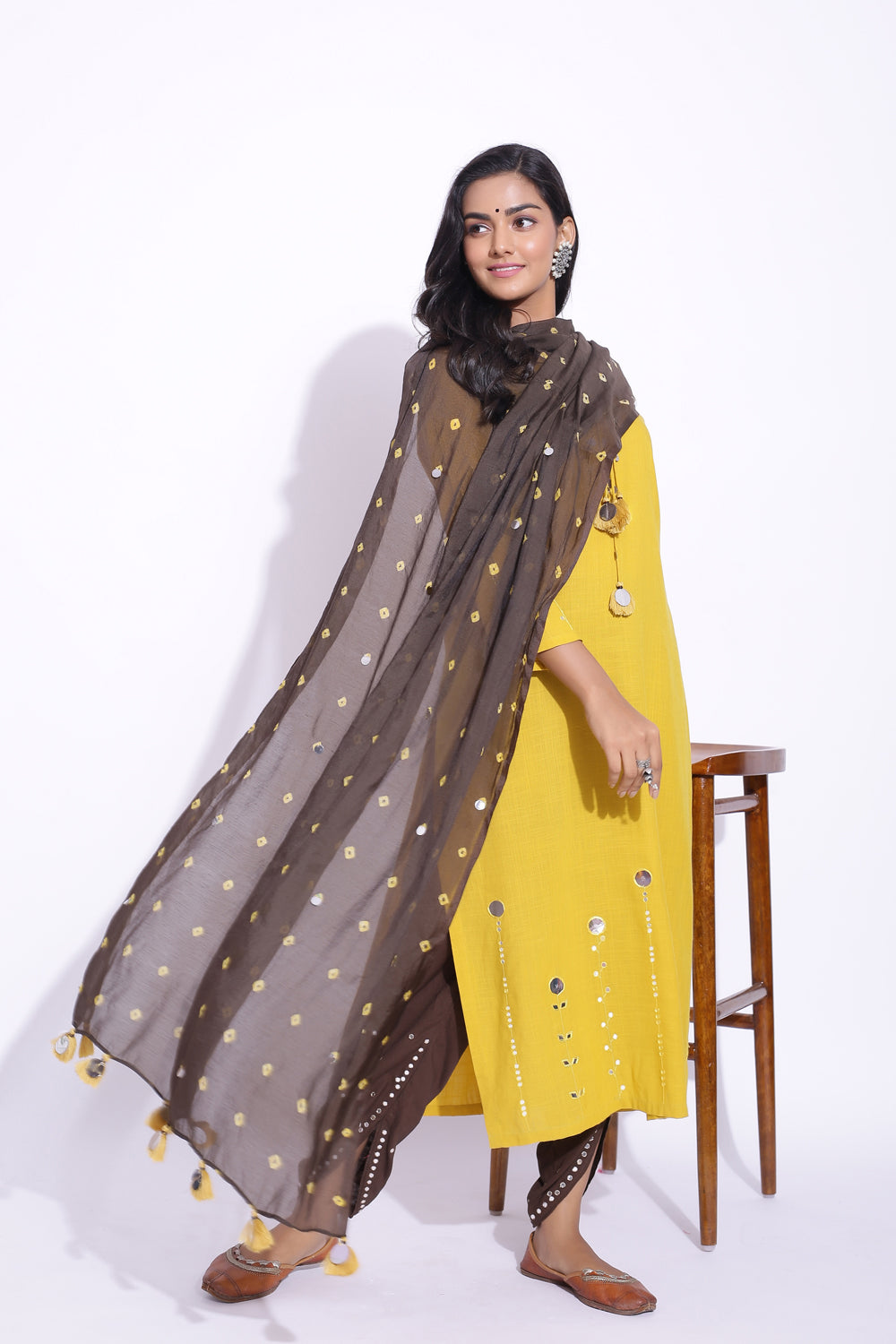 MODAL SILK MIRROR WORK DUPATTA IN BROWN COLOUR