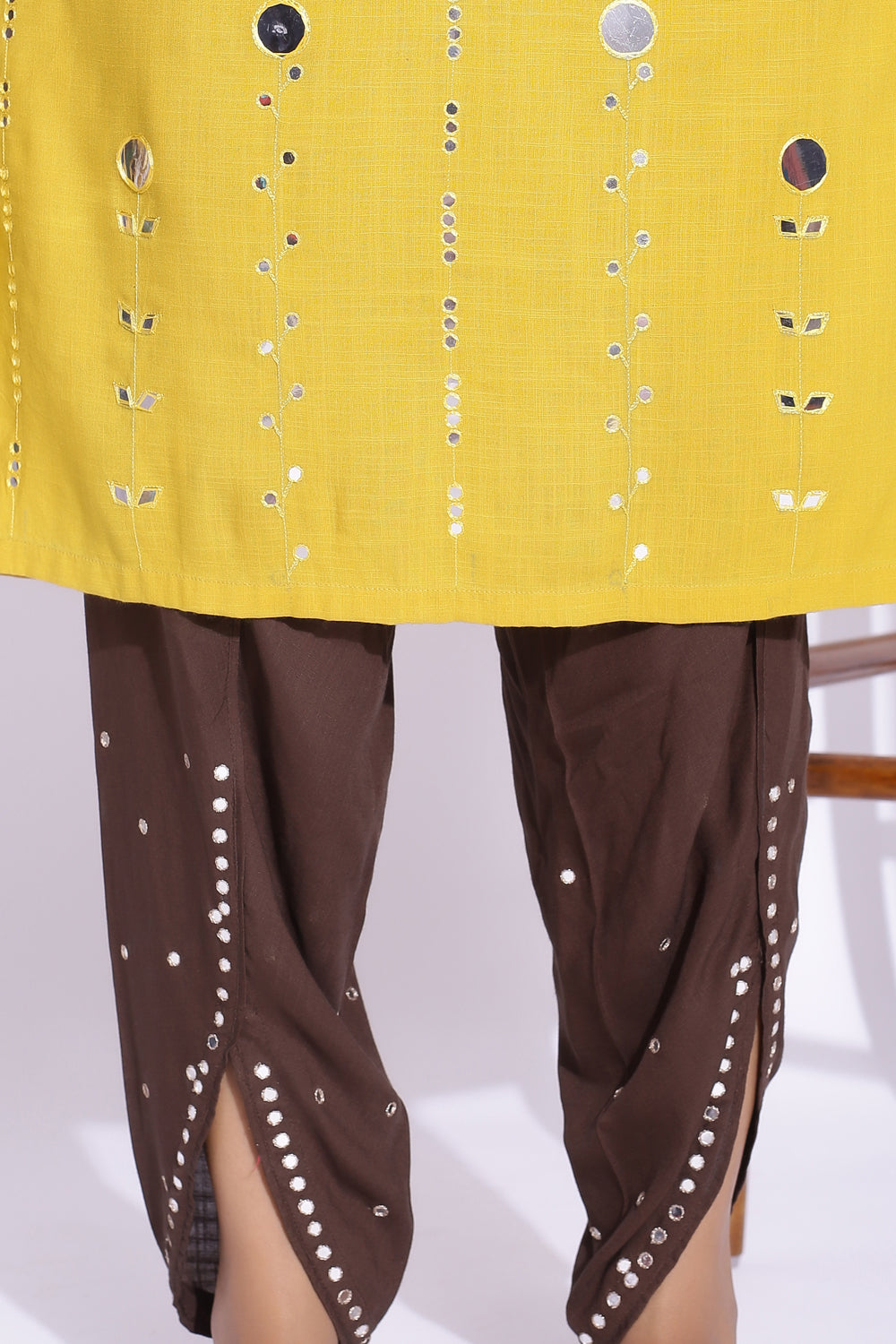 BROWN COLOUR TULIP PANT WITH MIRROR DETAILING