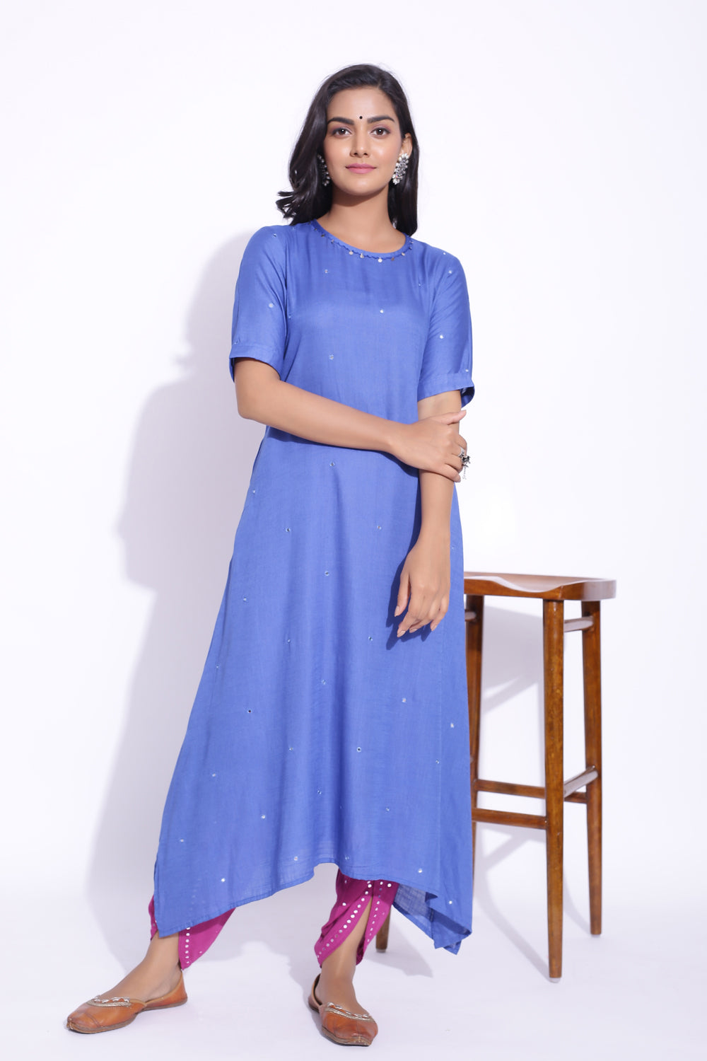 BLUE COLOUR MIRROR WORK DETAILING KURTA