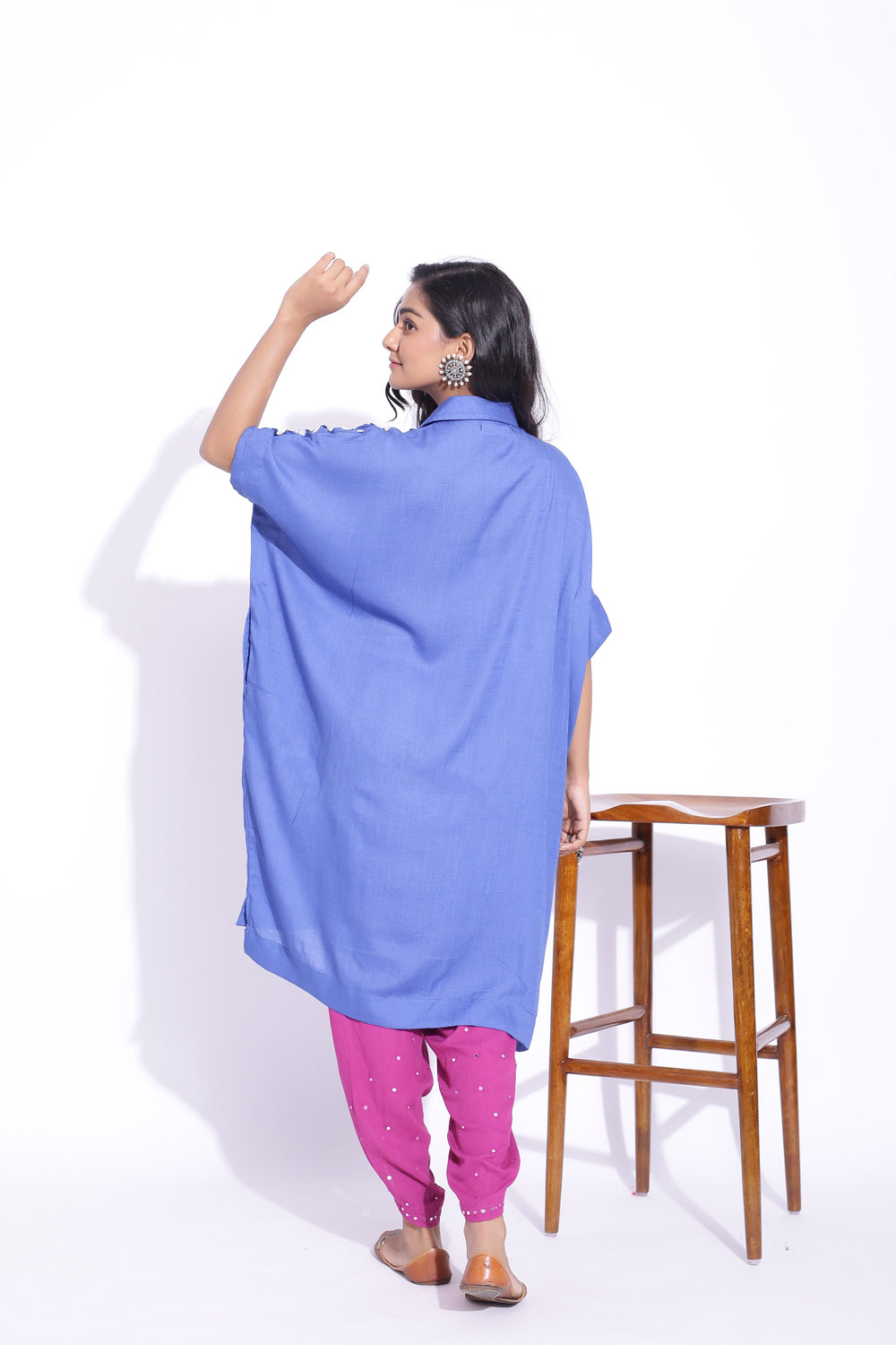 BLUE COLOUR FREE SIZE SHIRT WITH BOTTOM SET OF 2