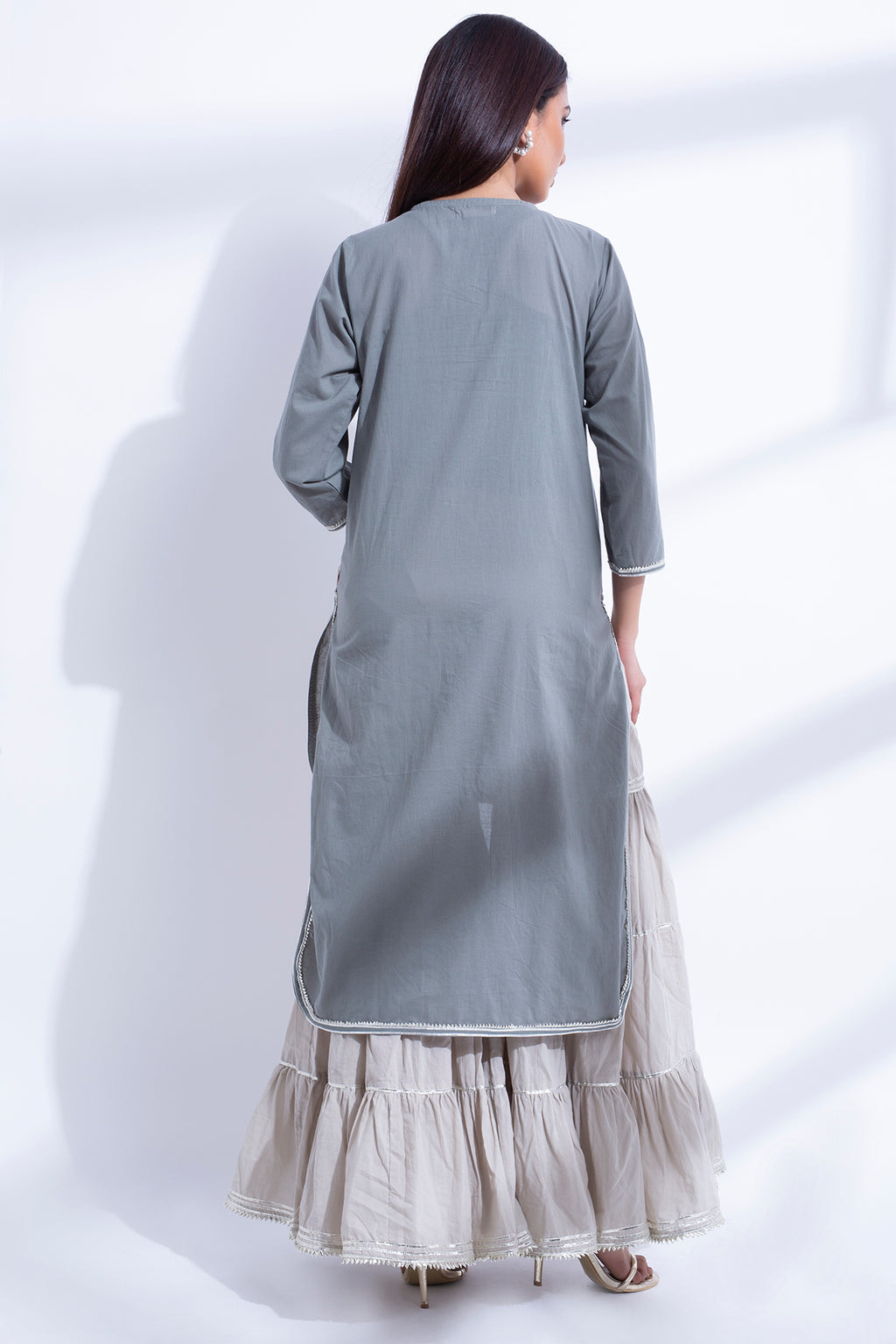 GRAY HIGH LOW KURTA