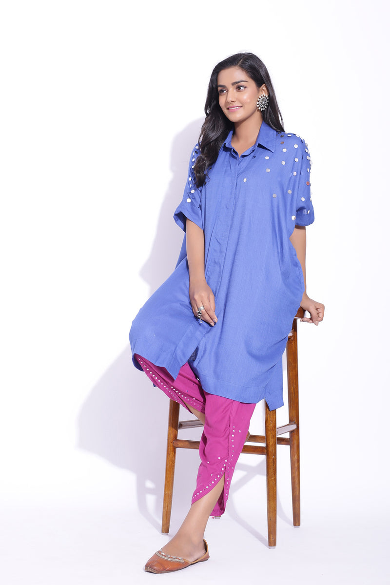 BLUE COLOUR FREE SIZE SHIRT WITH MIRROR DETAILING