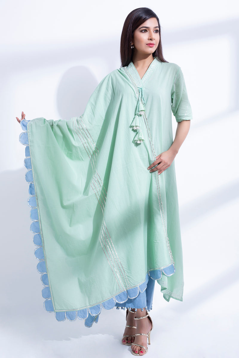 PISTA GREEN SWING KURTA