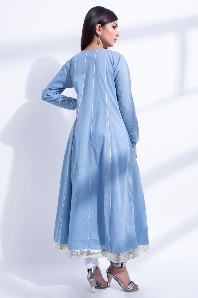Blue anarkali kurta Suit- Set of 3