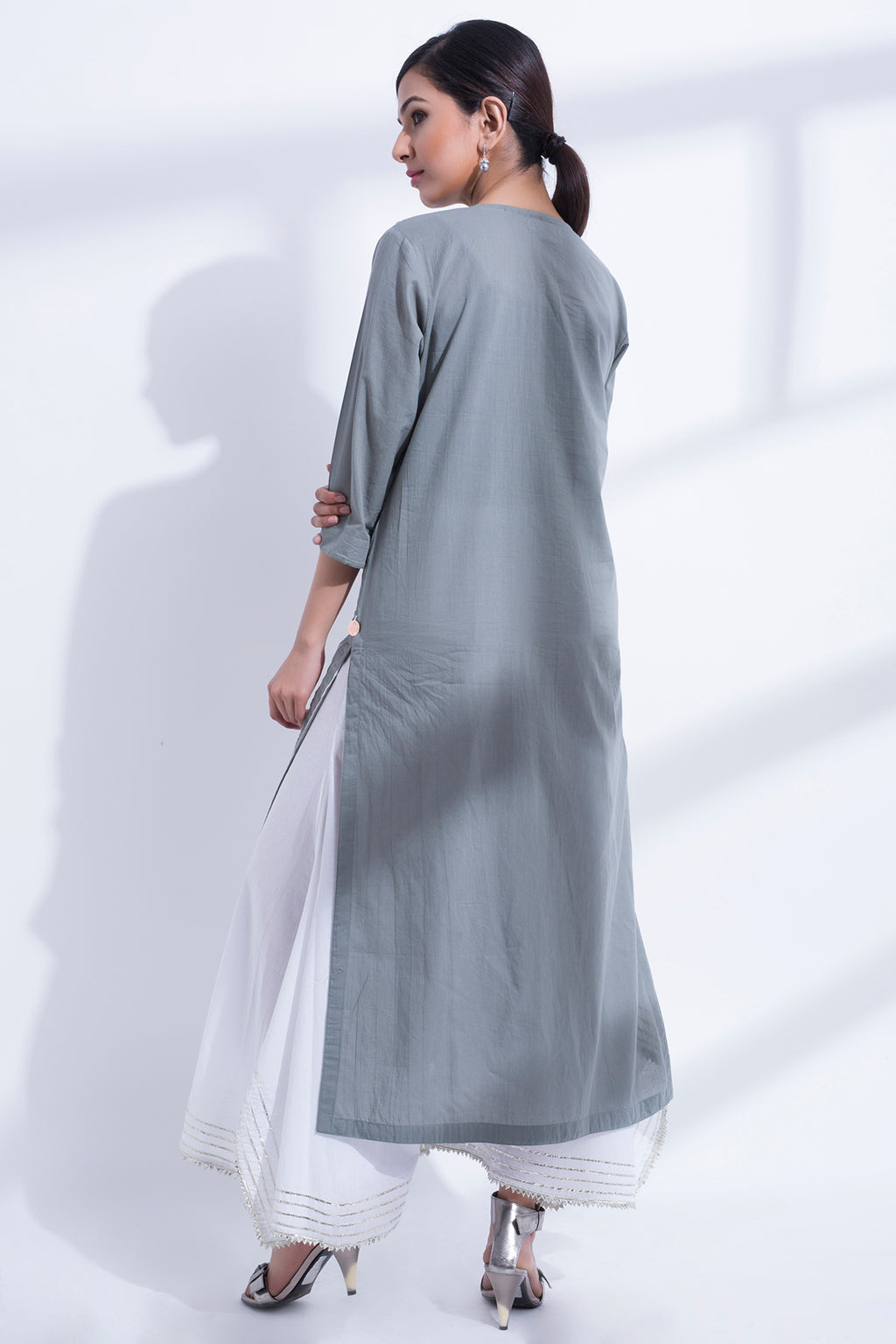 GRAY PINTUCK KURTA
