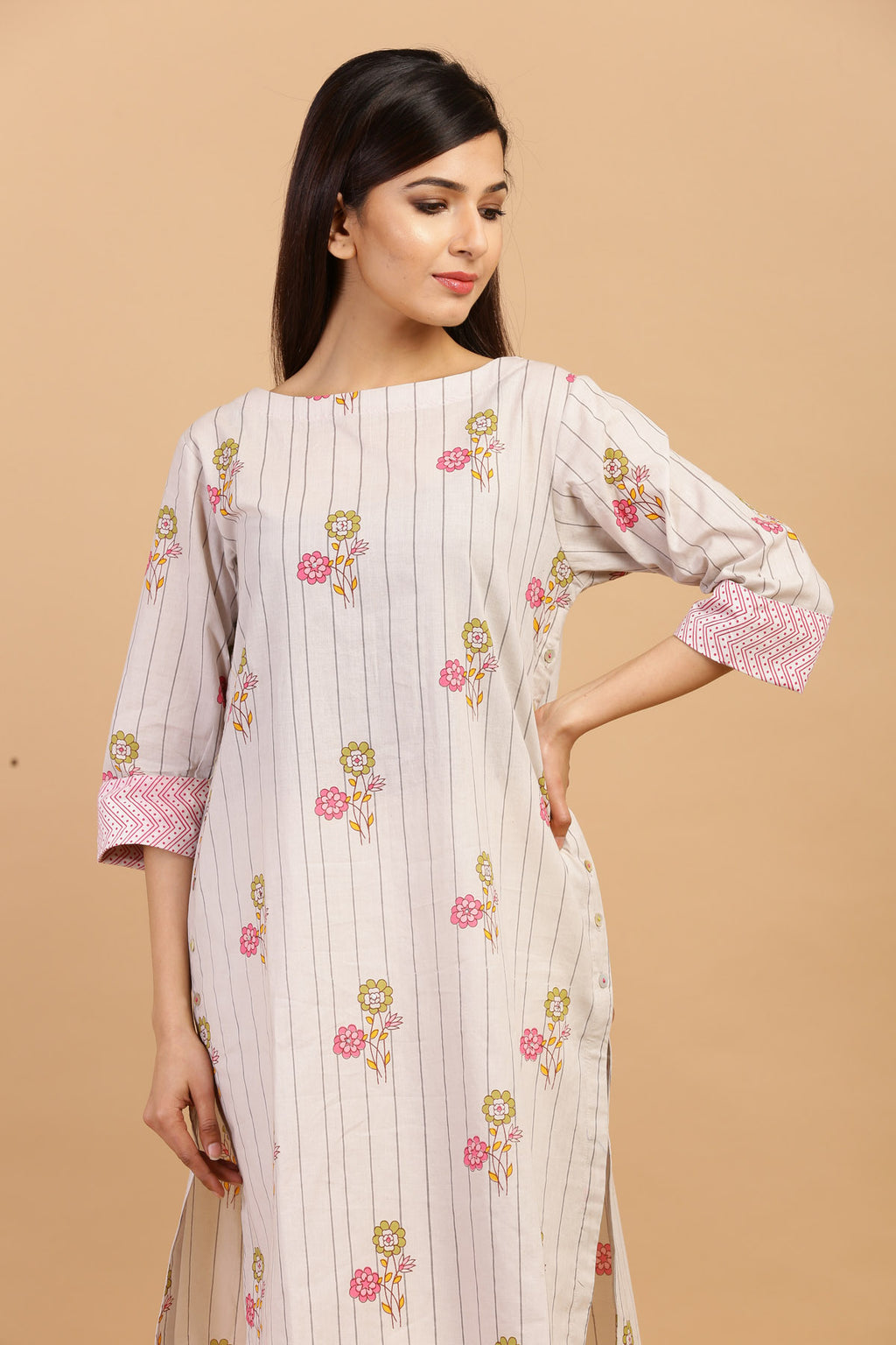 HIGH LOW COTTON PRINTED KURTA