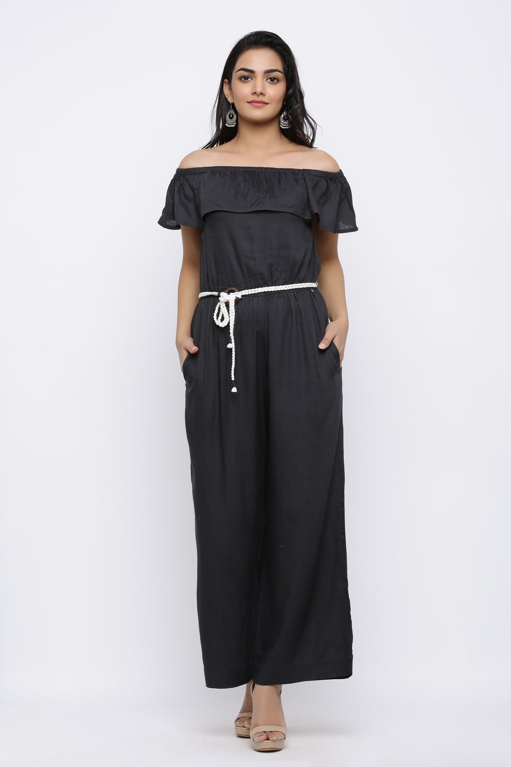 CHARCOAL BLACK COLOUR OFF SHOULDER JUMPSUIT