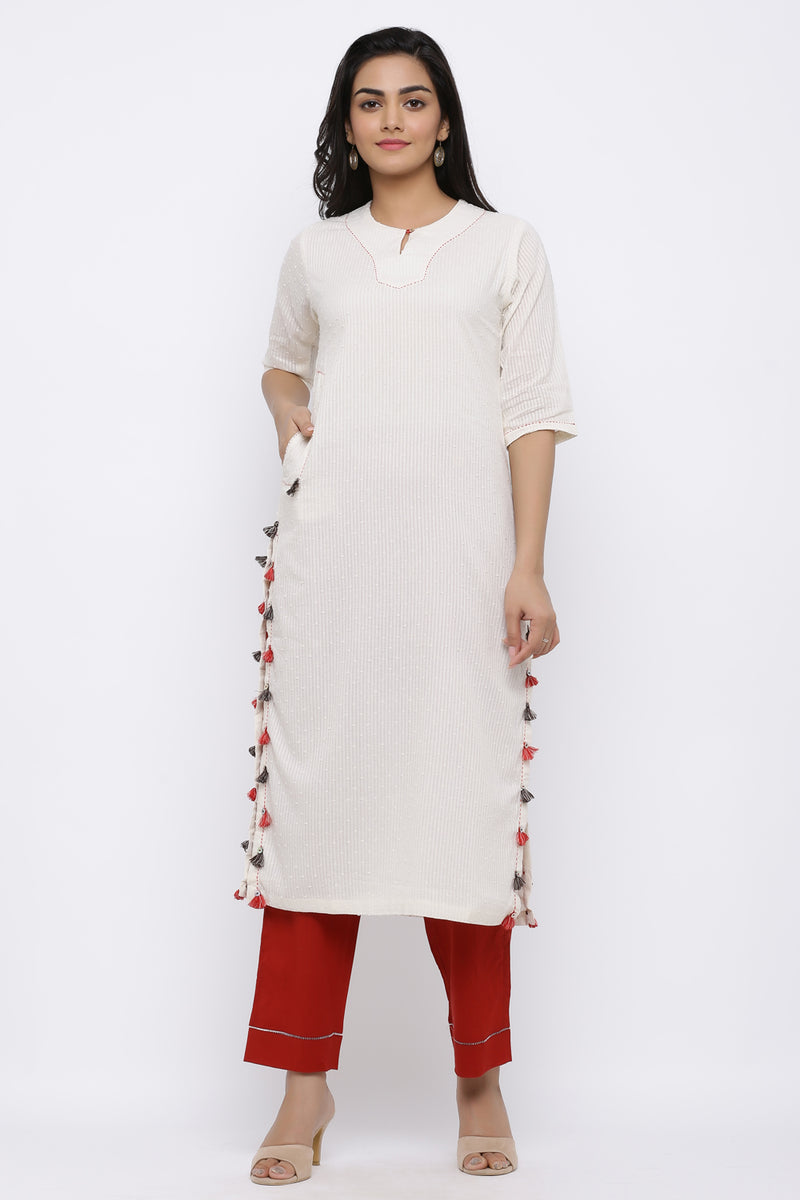 FUNDA DETAILING COTTON KURTA