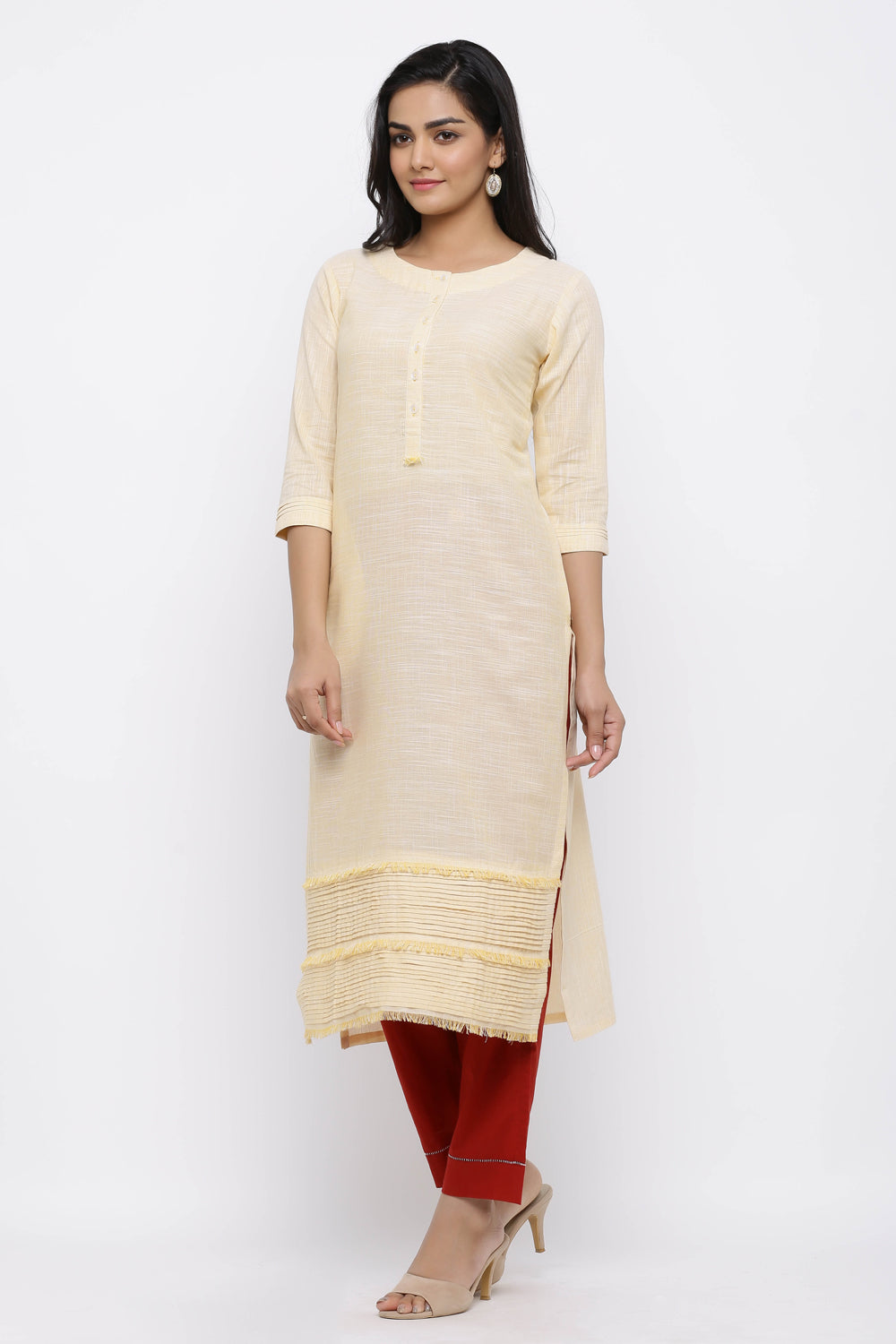 PINTUCKS STRAIGHT COTTON KURTA