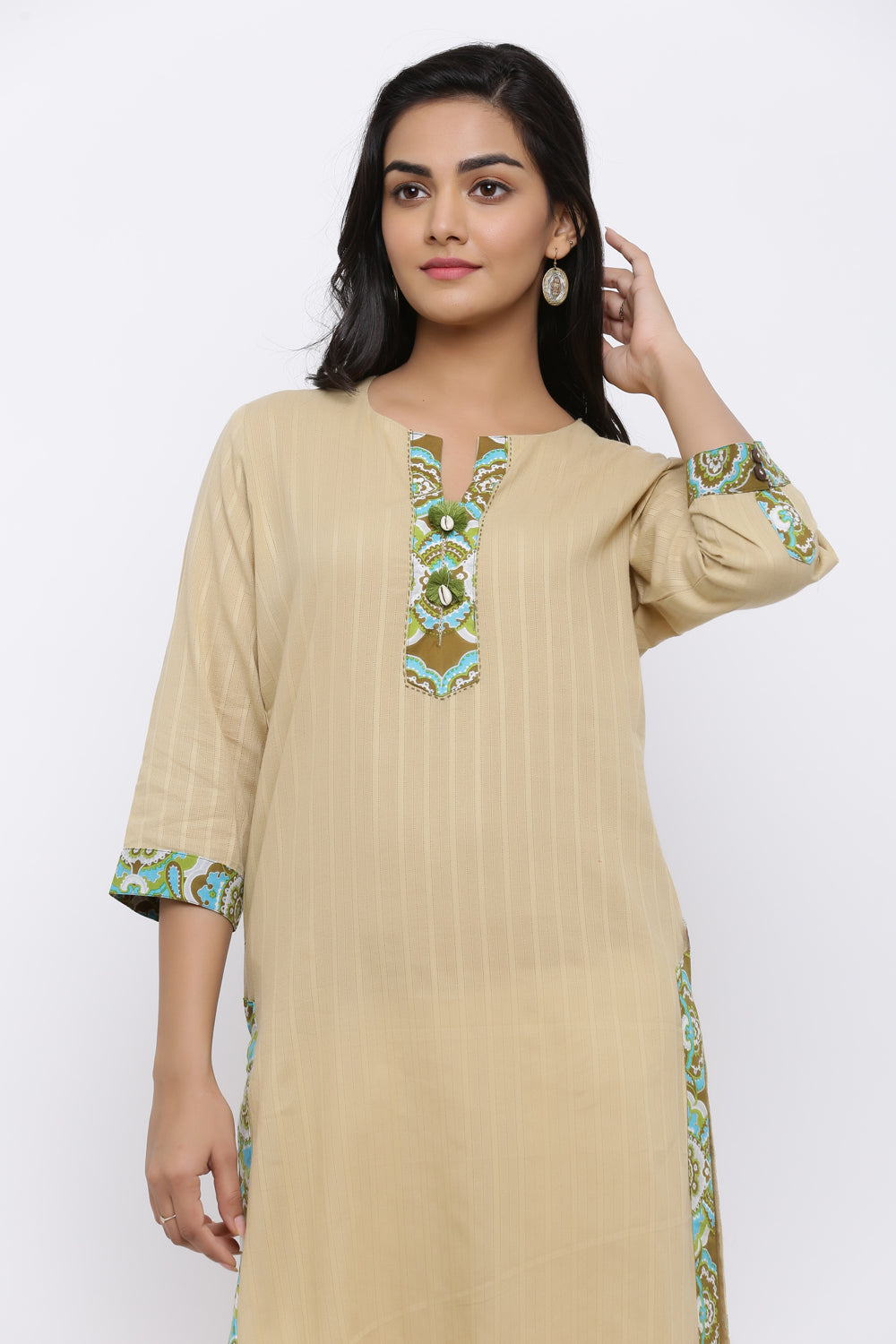 SOLID STRAIGHT KURTA WITH PRINTED BORDER