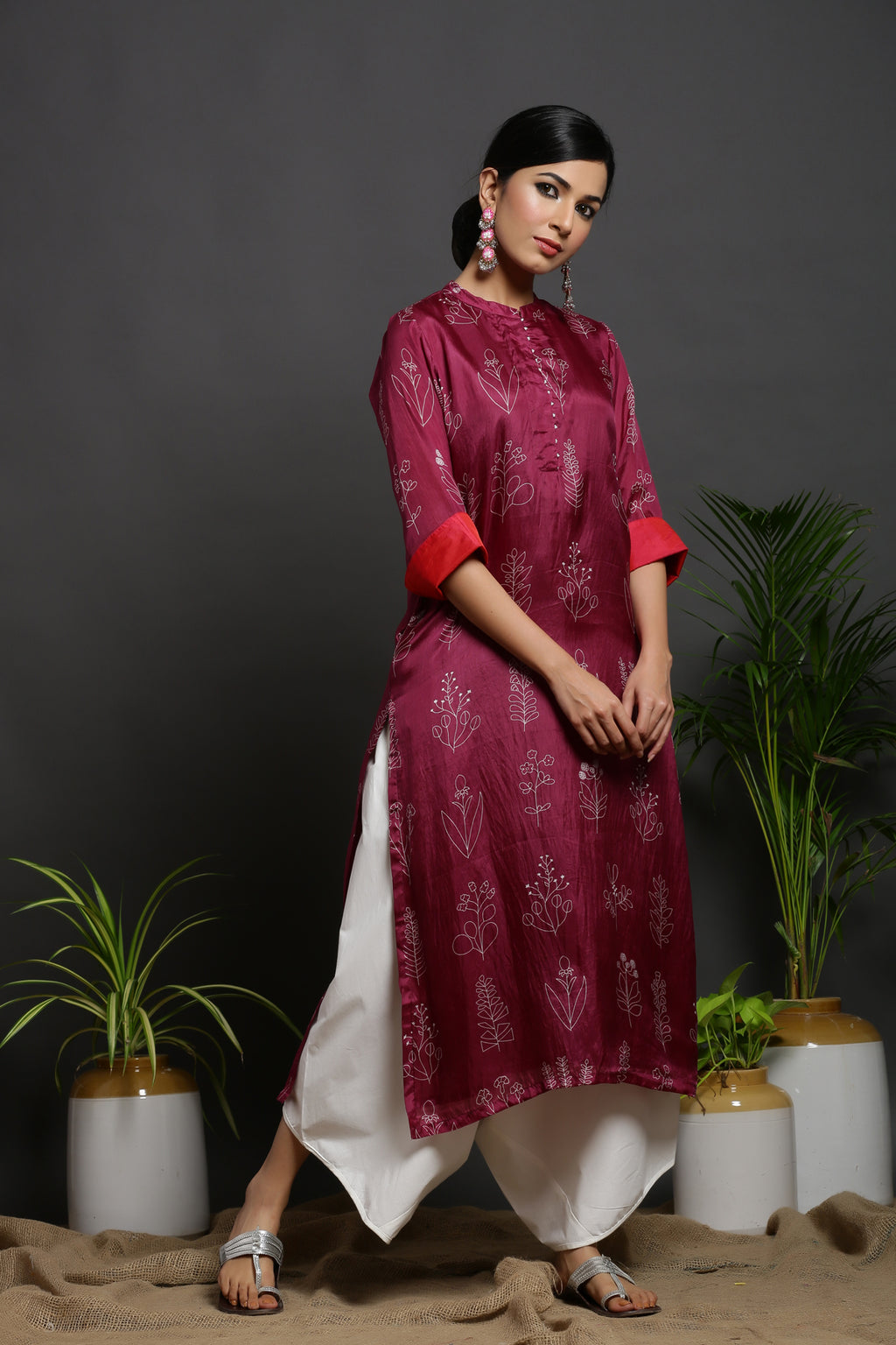 SILK STRIGHT KURTA