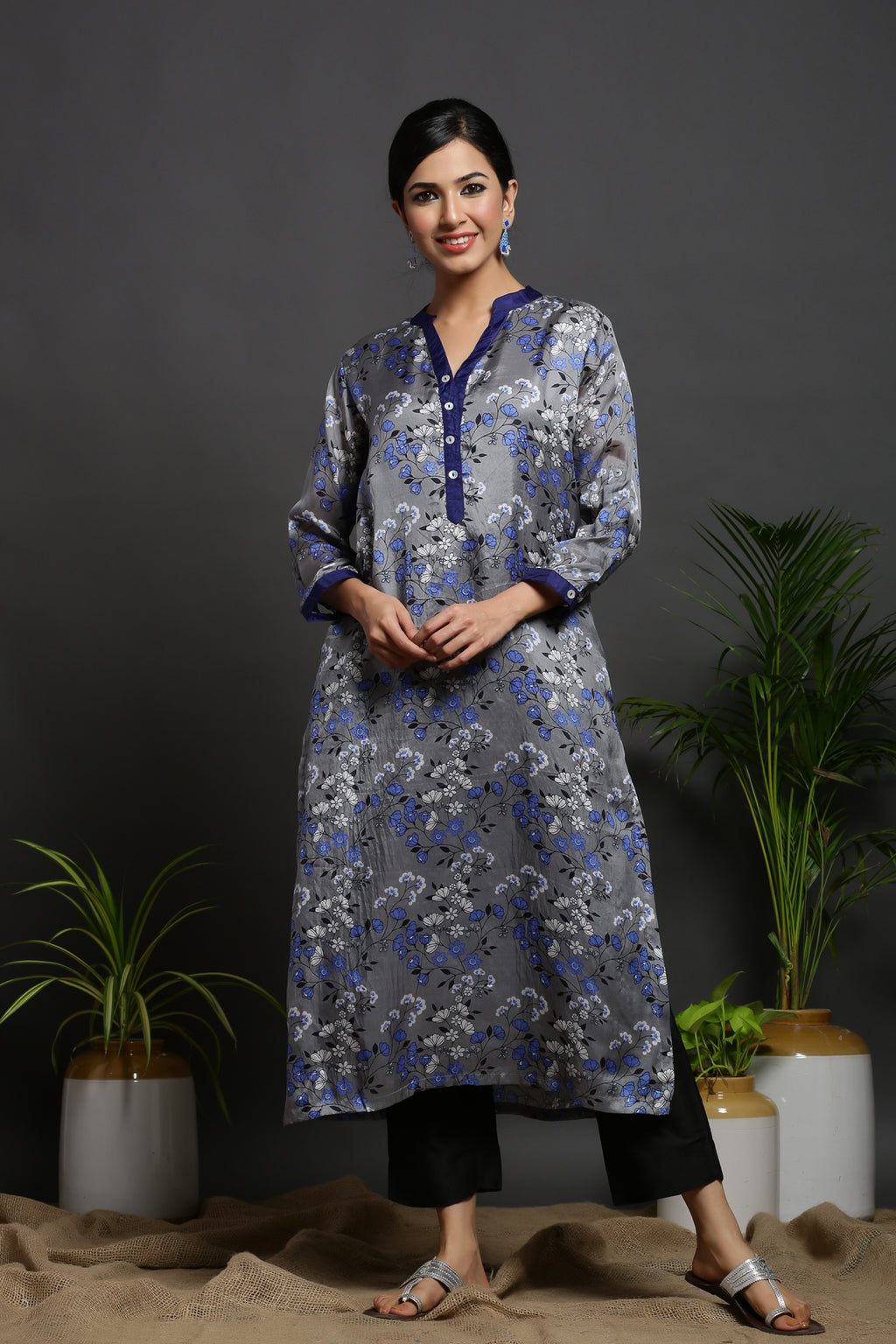 SILK GREY KURTA