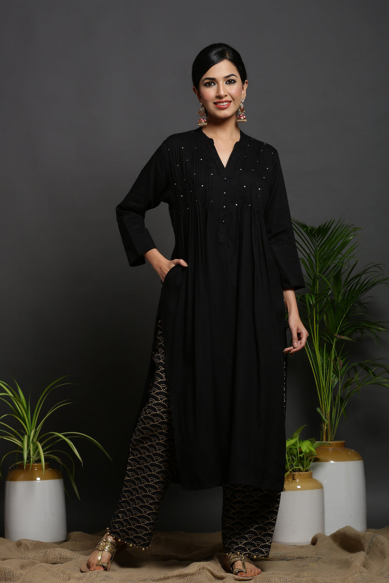 BLACK PINTUCK KURTA