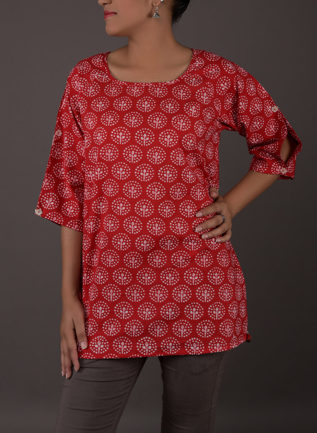 RED COTTON SHORT TOP