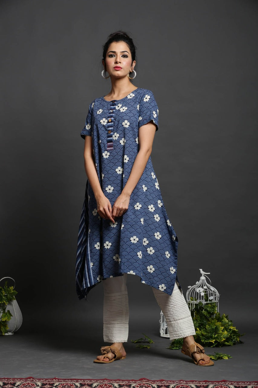 ASYMMETRICAL BLUE COTTON FLORAL PRINTED KURTA