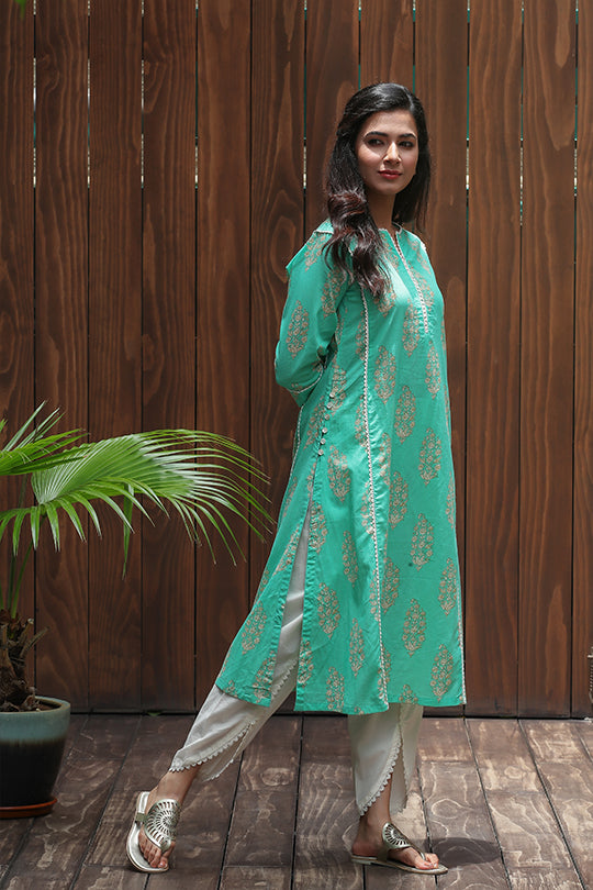 Floral Printed Cotton Kurta