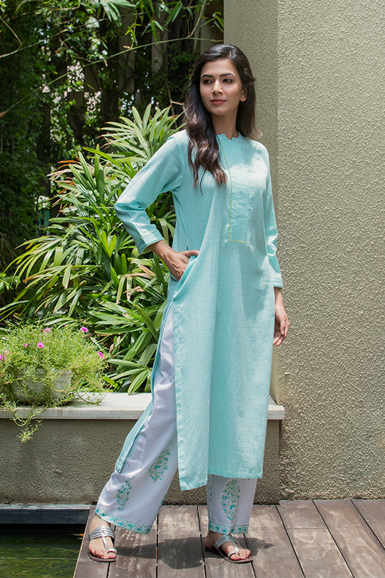 Blue cotton mandarin collar kurta