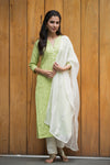 Green pintucks cotton kurta