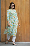 Cotton printed Pintucks kurta