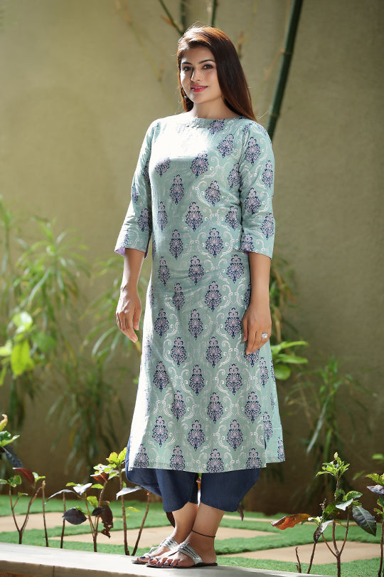 Cotton boat neck kurta