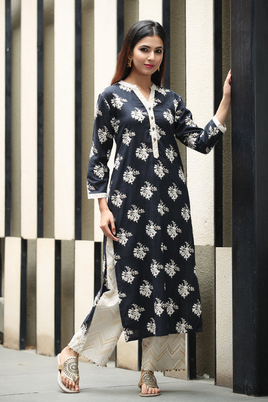 Black Cotton Kurta with gold print