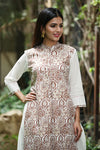Double layred Cotton Kurta with Gold print
