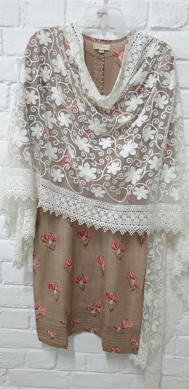 WHITE LACE NET DUPATTA