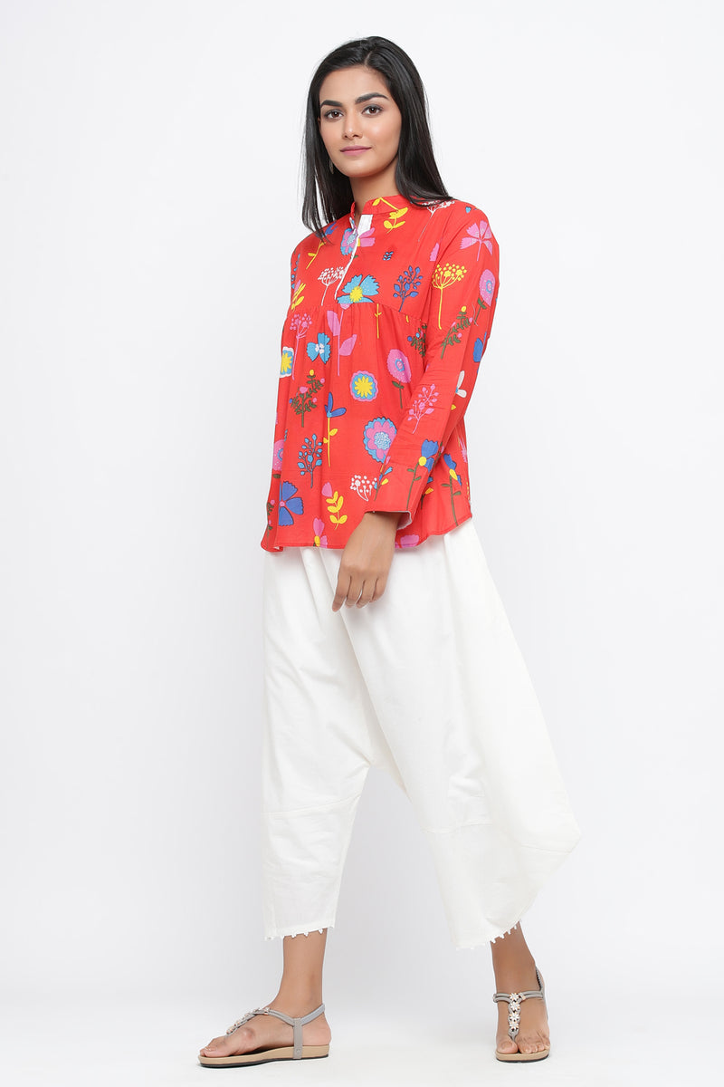 MULTI FLORAL PRINTED COTTON TUNIC