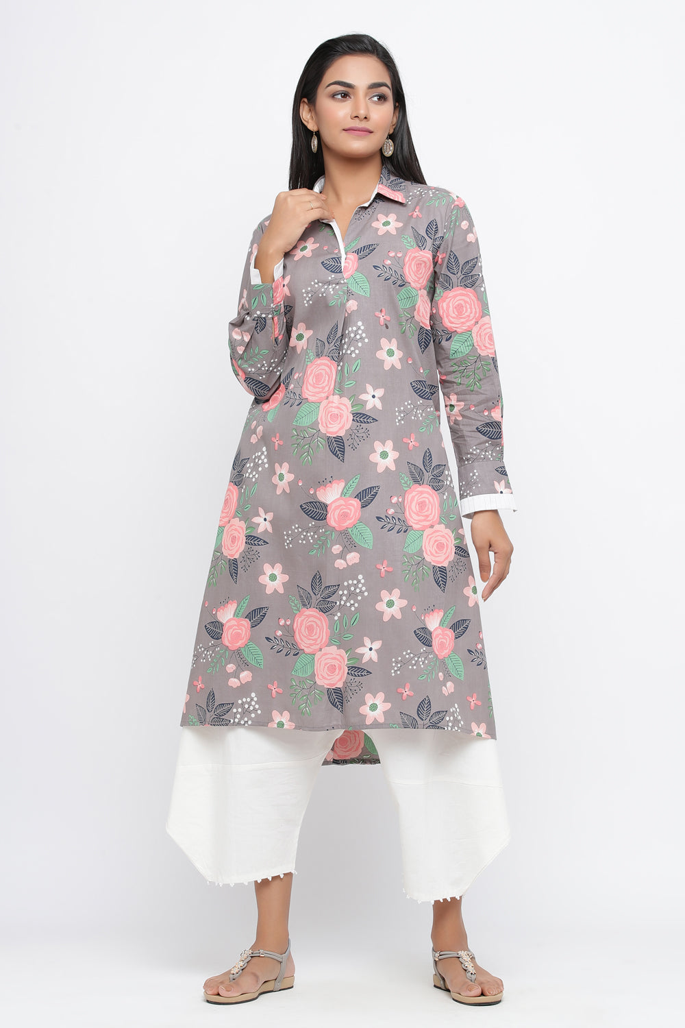 GREY COLOUR COTTON FLORAL PRINTED DRESS