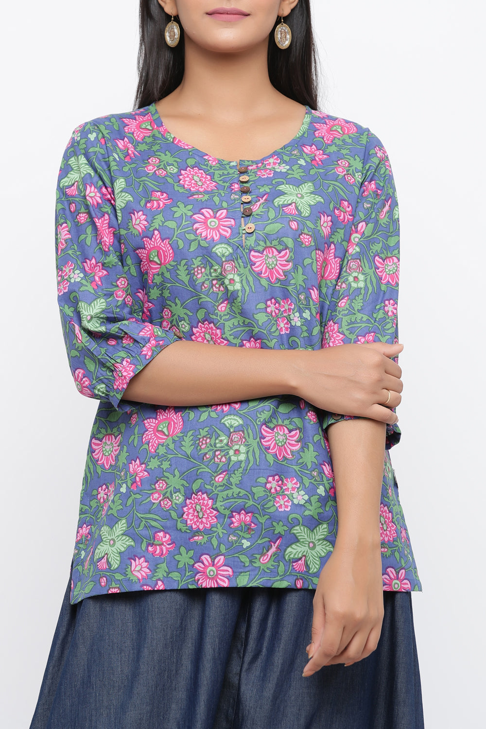PURPLE COLOUR FLORAL PRINTED COTTON TUNIC