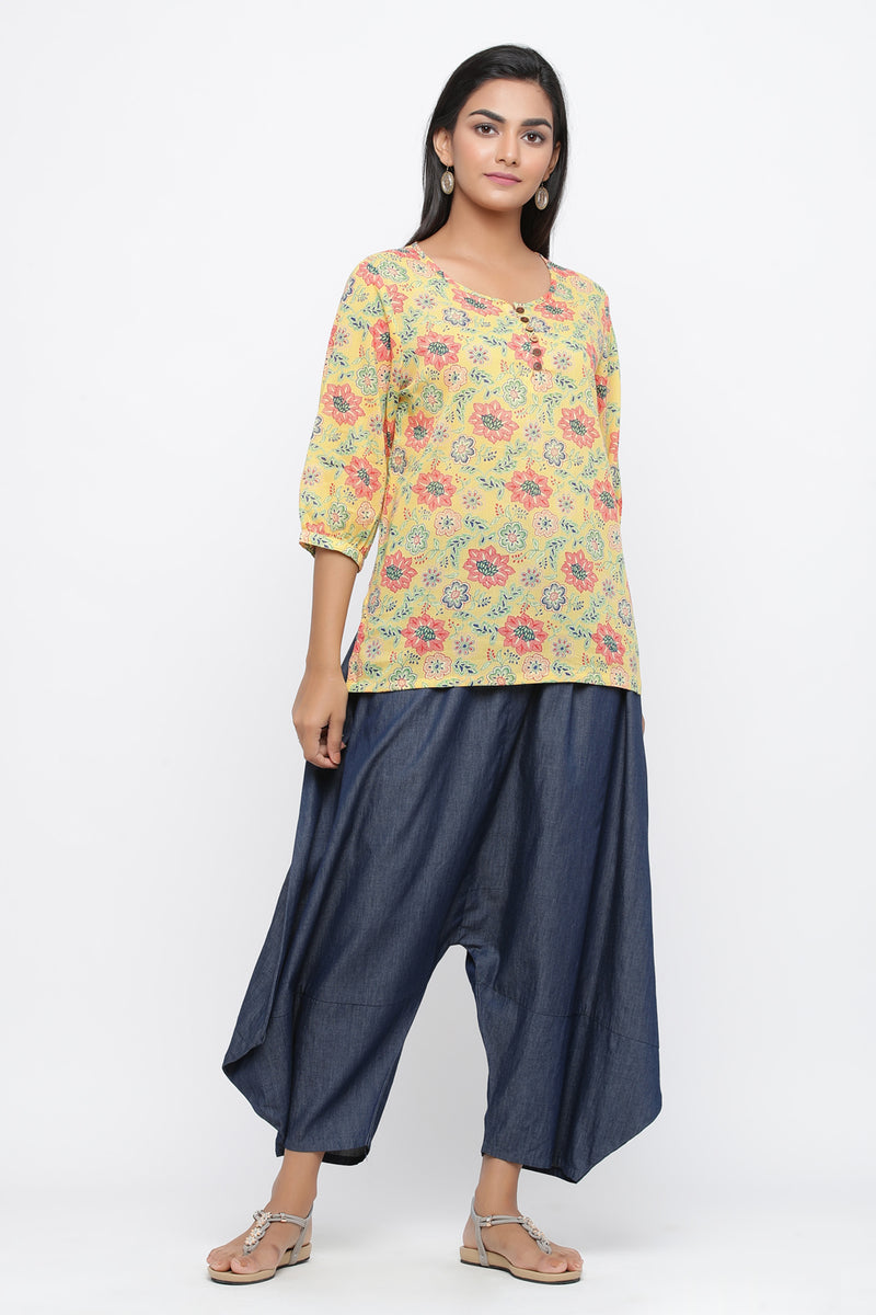 YELLOW COLOUR FLORAL PRINTED COTTON TUNIC