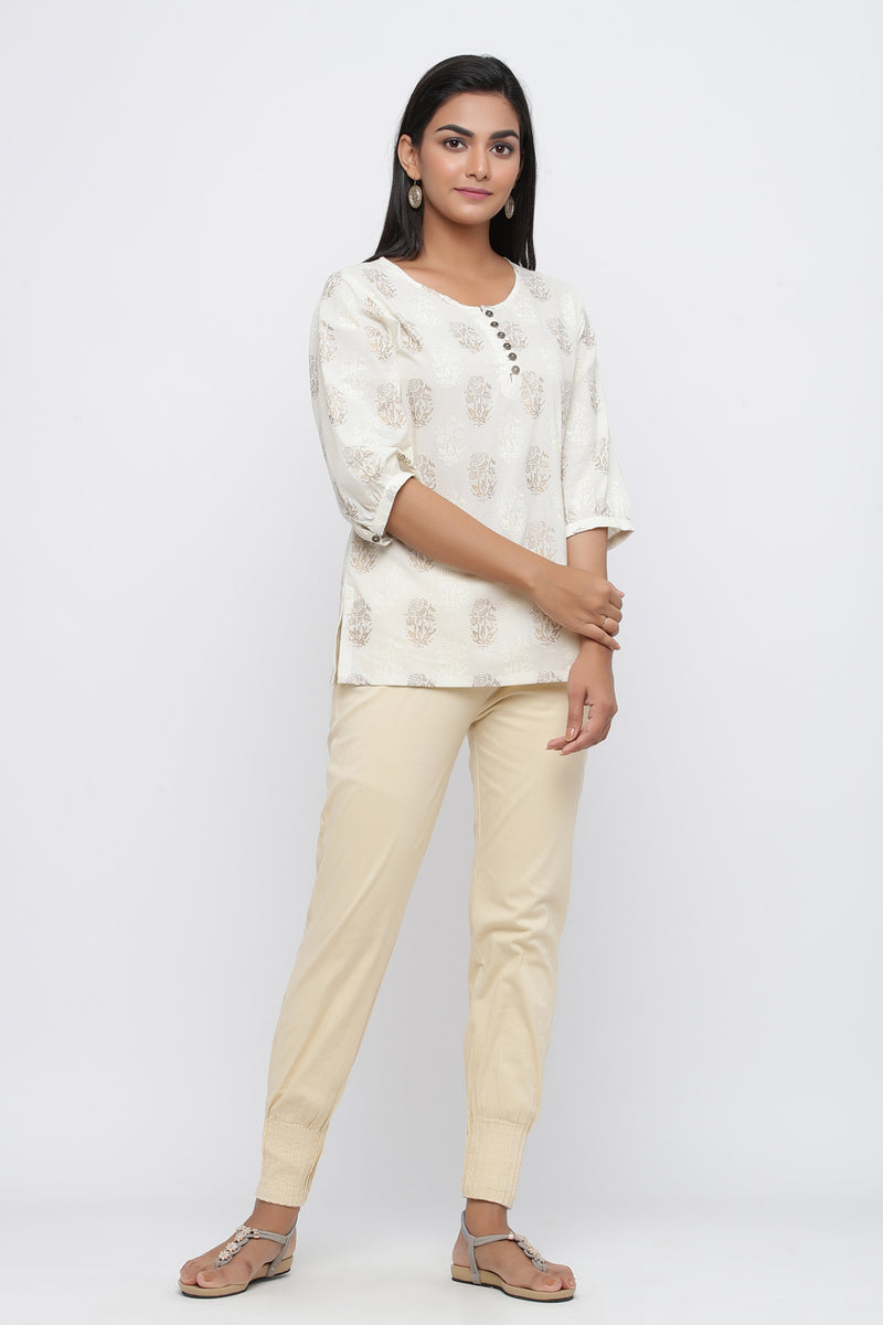 OFF WHITE COLOUR FLORAL PRINTED COTTON TUNIC