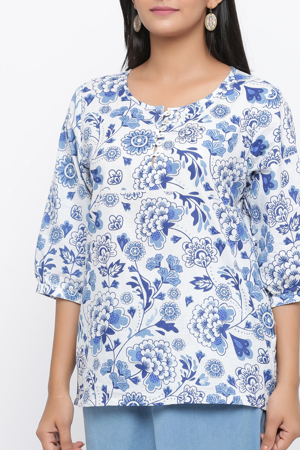 WHITE COLOUR FLORAL PRINTED COTTON TUNIC