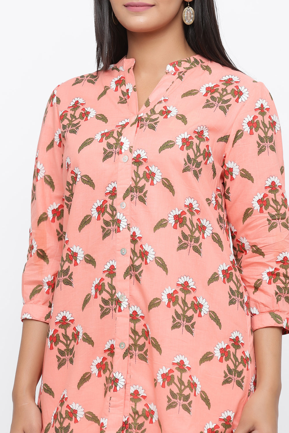 PEACH COLOUR FLORAL PRINTED COTTON TUNIC